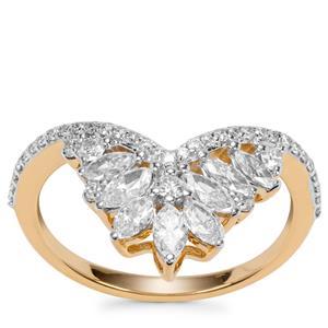 Fancy Diamond Ring in 18k Gold 1ct