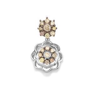 Multi-Colour Diamond Pendant in Sterling Silver 0.76ct
