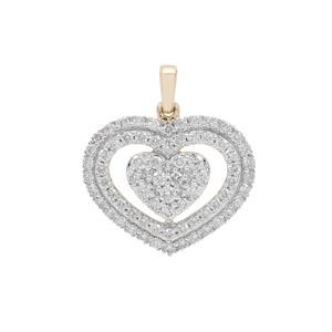 1ct Argyle Diamond 9K Gold Heart Pendant