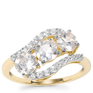 Singida Tanzanian Zircon Ring with White Zircon in 9K Gold 2.28cts