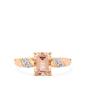 Rose Danburite Ring with White Zircon in 9K Rose Gold 1.62cts