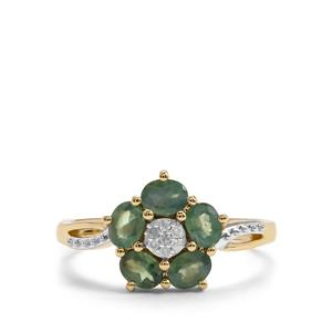 Alexandrite Ring with Diamond in 10K Gold 0.96cts