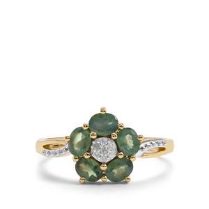 Alexandrite & Diamond 9K Gold Ring ATGW 0.96cts