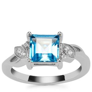 Swiss Blue Ring with White Topaz in Sterling Silver 2.30cts