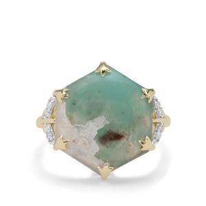 Aquaprase™ & Diamond 9K Gold Ring ATGW 8.12cts