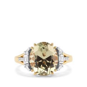 Csarite® & Diamond 18K Gold Lorique Ring MTGW 5.36cts