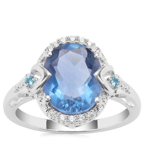 Colour Change Fluorite, Marambaia London Blue Topaz Ring with White Zircon in Sterling Silver 4.43cts