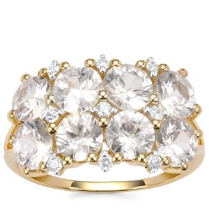 Singida Tanzanian Zircon Ring with White Zircon in 10k Gold 5.38cts