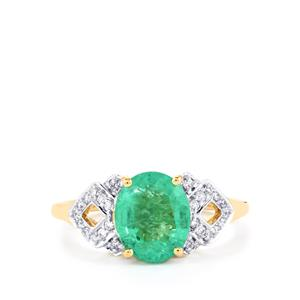 Ethiopian Emerald Ring with Diamond in 18k Gold 2.72cts