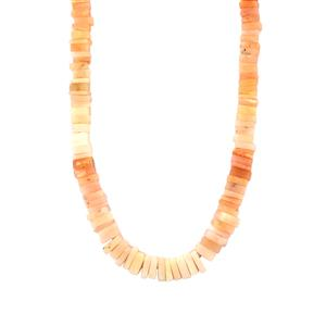 Peruvian Pink Opal Graduated Bead Necklace  in Sterling Silver 110cts