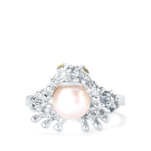 Kaori Cultured Pearl, White Topaz & Peridot Sterling Silver Frog Ring