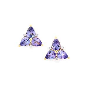 AA Tanzanite Earrings with Diamond in 10K Gold 1.78cts