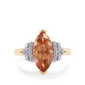 Oregon Sunstone Ring with Diamond in 18K Gold 2.69cts