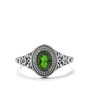 Chrome Diopside & White Zircon Sterling Silver Ring ATGW 0.78cts