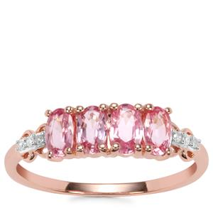 Sakaraha Pink Sapphire Ring with Diamond in 10K Rose Gold 1.14cts