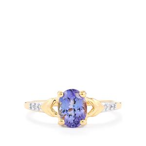 Bi Color Tanzanite Ring with Diamond in 10k Gold 1.25cts