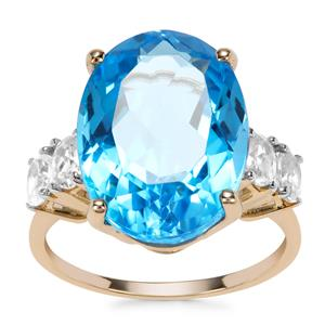 Swiss Blue Topaz Ring with White Zircon in 9K Gold 12.79cts