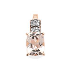Alto Ligonha Morganite & Diamond 9K Rose Gold Pendant ATGW 1.89cts