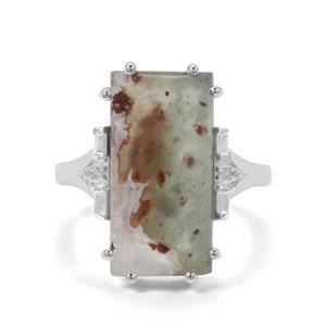 Aquaprase™ & White Zircon Sterling Silver Ring ATGW 8.34cts