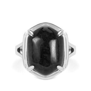 Natural Black Burmese Jade Ring in Sterling Silver 12.86cts