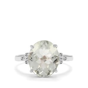 Prasiolite & White Topaz Sterling Silver Ring ATGW 3.71cts