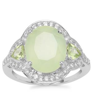 Prehnite, Peridot Ring with White Zircon in Sterling Silver 6.13cts