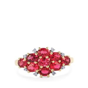 Mahenge Red Spinel Ring with Diamond in 10K Gold 1.64cts
