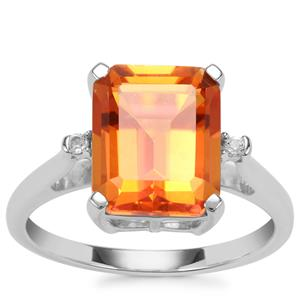 Padparadscha Colour Quartz Ring with White Topaz in Sterling Silver 4.52cts