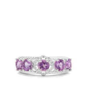 Moroccan Amethyst & White Zircon Sterling Silver Ring ATGW 1.75cts