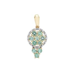 Aquaiba™ Beryl Pendant with White Zircon in 9K Gold 1.02cts