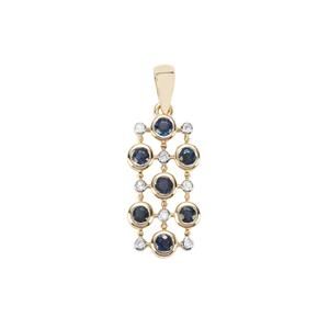 Natural Nigerian Blue Sapphire Pendant with Diamond in 9K Gold 0.85ct