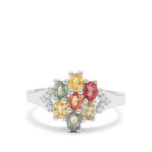 Rainbow Sapphire & White Zircon Sterling Silver Ring ATGW 1.80cts