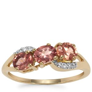 Natural Tanzanian Champagne Garnet Ring with White Zircon in 9K Gold 1.33cts