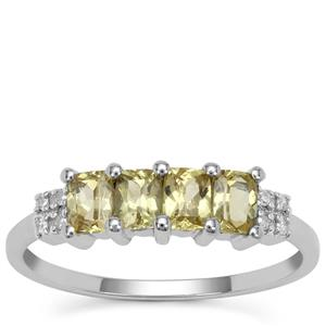 Mansanite™ Ring with Diamond in 9K White Gold 1.05cts