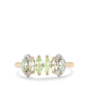 Paraiba Tourmaline Ring with Diamond in 9K Gold 0.60cts