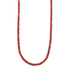 45.50ct Red Spinel Sterling Silver Graduated Beads Necklace With Magnetic Clasp