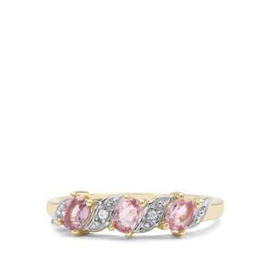 Sakaraha Pink Sapphire & White Zircon 9K Gold Ring ATGW 0.71ct