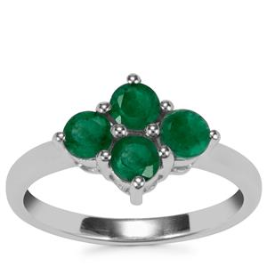 Carnaiba Brazilian Emerald Ring in Sterling Silver 1cts
