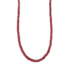Bangalore Ruby Graduated Bead Necklace in Sterling Silver 60cts