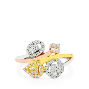 1/3ct Diamond Three Tone Midas Ring