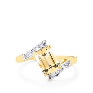 Rose Danburite & White Zircon 9K Gold Ring ATGW 1.77cts