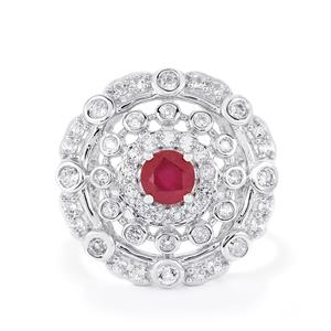 Madagascan Ruby & White Topaz Sterling Silver Ring ATGW 1.77cts (F)