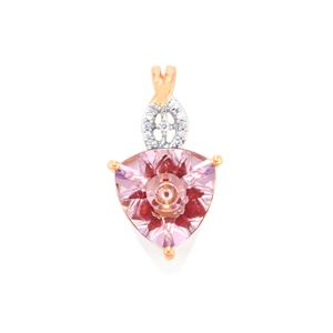 Lehrer KaleidosCut Rose De France Amethyst, Malagasy Ruby Pendant with Diamond in 10K Rose Gold 2.73cts (F)