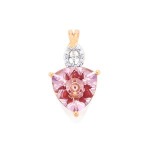 Lehrer KaleidosCut Rose De France Amethyst, Malagasy Ruby & Diamond 9K Rose Gold Pendant ATGW 2.73cts (F)