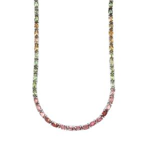 Rainbow Tourmaline Necklace in Sterling Silver 21.61cts