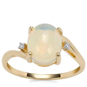 Ethiopian Opal Ring with Diamond in 10k Gold 1.68cts