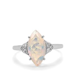 Ethiopian Opal Ring with Diamond in 9K White Gold 1.57cts