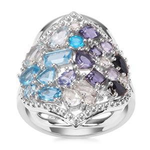 3.41ct Oceanic Sterling Silver Shades Ring