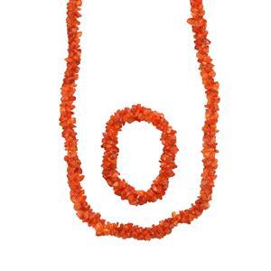 500ct Carnelian Set of Necklace & Stretchable Bracelet