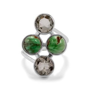 Australian Variscite & Prasiolite Sterling Silver Aryonna Ring ATGW 9cts